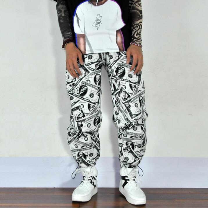 New Summer Hair Stylist Europe And America Hip-hop Comics Personality Dollar Pants Men Loose Jogger Pants Male Fashion Trousers