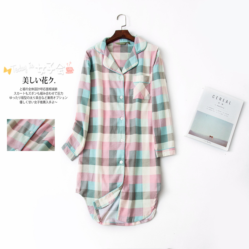 Women Pink Grid Long Dresses Plus Size   Nightgowns   Long Sleeved Cotton Flannel   Sleepshirts   Ladies Sleepwear Female Homewear
