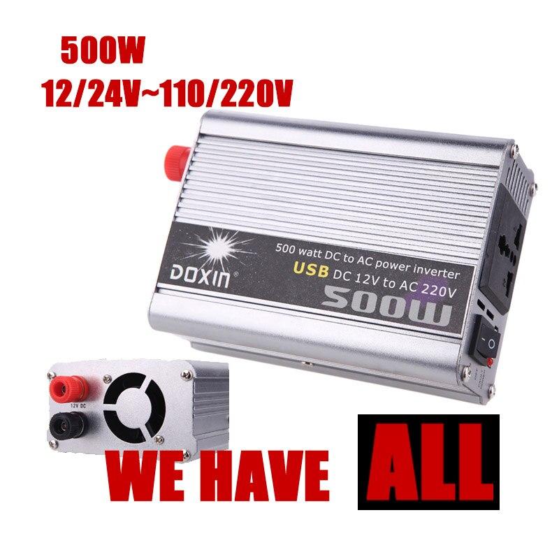 Gros DC 12/24 V à AC 110/220 V 500 W Onde sinusoïdale Modifiée USB chargeur De Voiture Onduleur convertisseur transformateur de tension