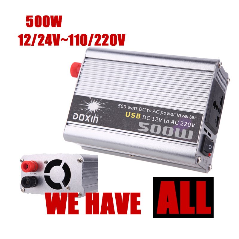 Wholesale DC 12/24V to AC 110/220V 500W Modified Sine Wave USB charger Car Power Inverter converter voltage transformer