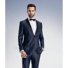 2017 terno slim fit Navy Blue Wedding Suits for Men Slim Fit 2 Piece Tuxedo Custom mens smoking Prom Suit Groom Blazer Masculino