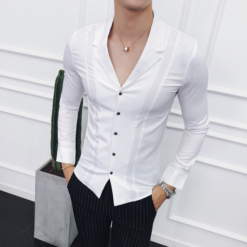 b2b63a20bf23 Loldeal Fashion suit collar spring and Autumn Men's Long Sleeve Shirt  Fashion Suit Lead England Business