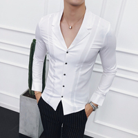 Loldeal Fashion suit collar spring and Autumn Men's Long Sleeve Shirt Fashion Suit Lead England Business affairs Casual Shirt