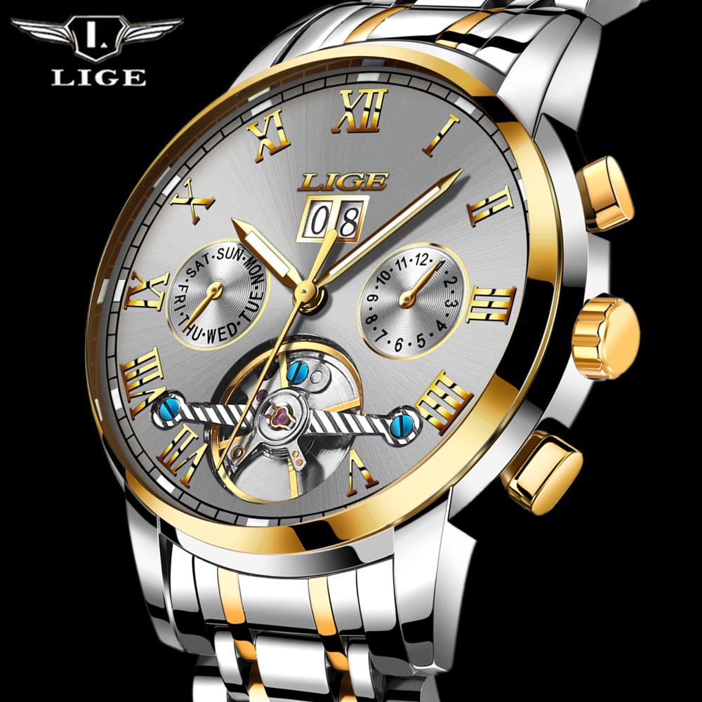 2017 New LIGE Luxury Men's Automatic Watches Men Fashion Casual Watch Man Waterproof Full Steel Business Clock relogio masculino read luxury golden automatic mechanical watches men fashion watch for men wristwatch waterproof full steel relogio masculino new