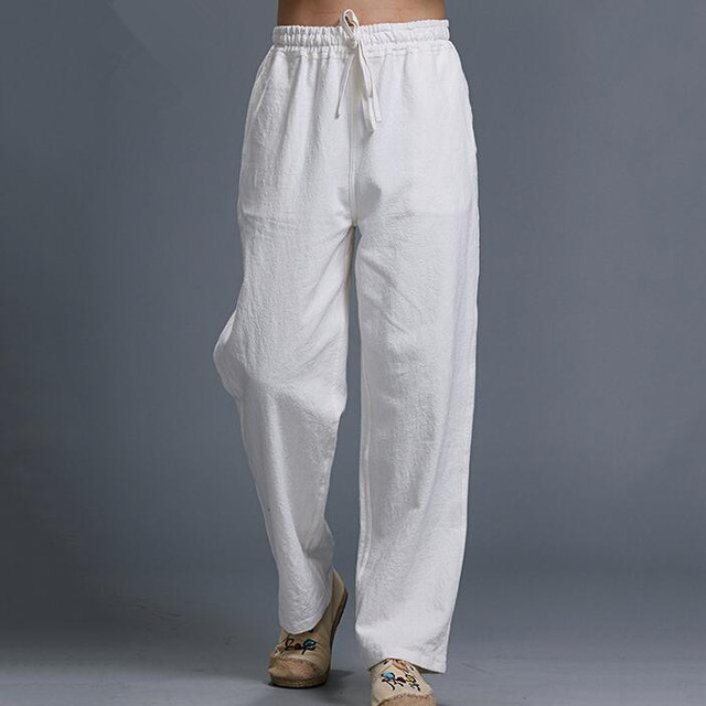 Calças Dos Homens De Linho branco Cintura Elástica 2017 Nova Masculino Casual Cotton & Calças De Linho Reta Ajuste Confortável Desgaste Frete Grátis