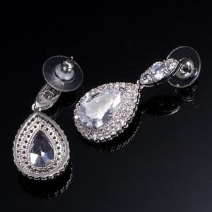 Image 5 - Collar y pendientes de boda de Zirconia cúbica de alta calidad, conjuntos de joyería de cristal de lujo para damas de honor