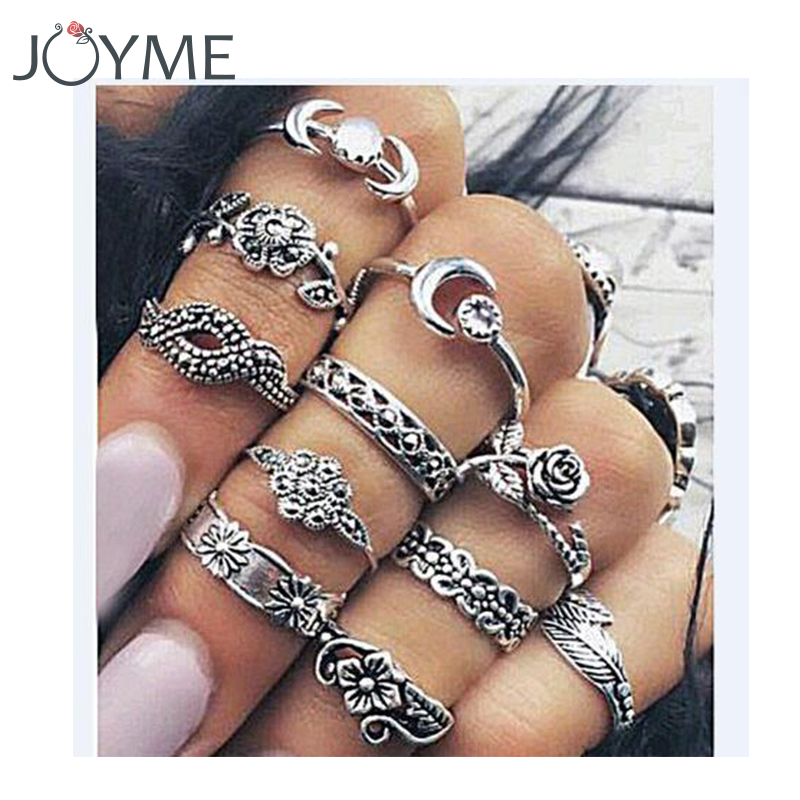 New 11pcs Boho Vintage Punk Midi Finger Rings For Women Antique Silver Flower Carved Bohemian Knuckle Ring Set wholesale Jewelry