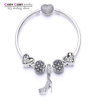 Soild 925 Sterling Silver Clear Crystal Charm Bracelet Bangle With Heart Stilettos Locket Beads For Women