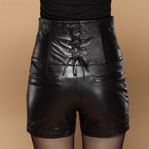 Image 2 - High Waist Sexy Leather Shorts for Women Chic Cross tie Slim Fitness High Quality Leather Shorts Elegant Hot Plus Size 5XL