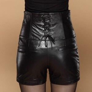 Image 2 - Pantalones cortos de cuero de cintura alta para mujer, Shorts de cuero de alta calidad, ajustados, con lazo cruzado, elegantes, de talla grande 5XL