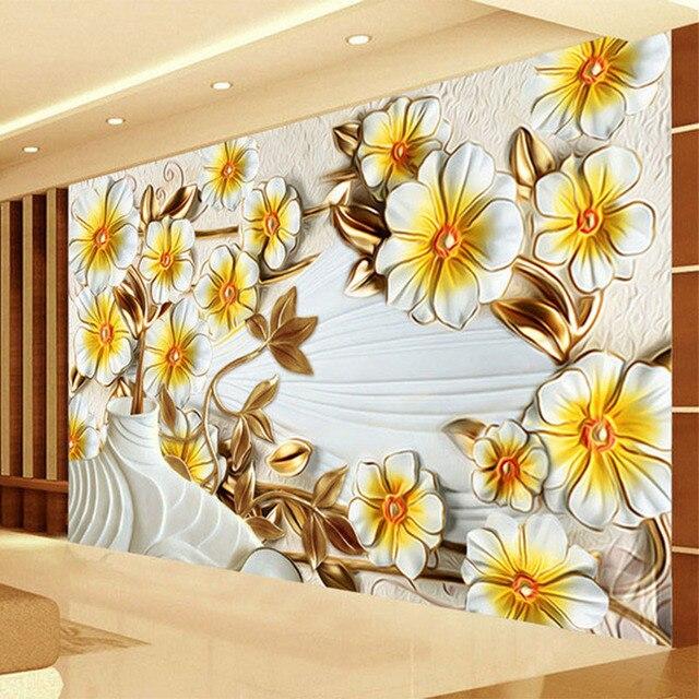 Custom 3D Behang Romantische Stereo Relief Gele Bloemen Foto ...