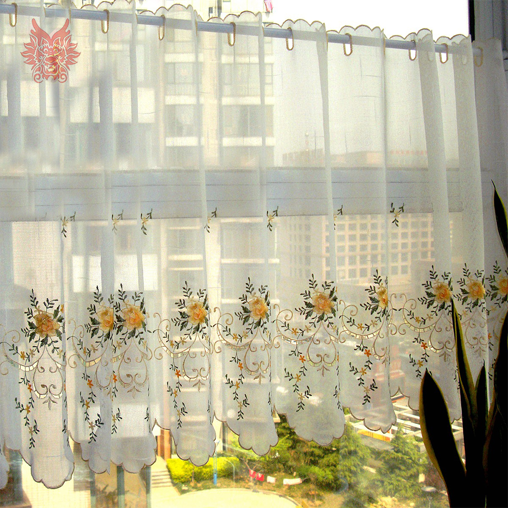Pastoral Style Yellow Floral Embroidery Lace Half Curtain Bay Window Curtain For Coffee Kitchen