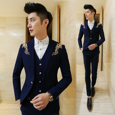 Aliexpress.com : Buy 2016 Blazers Mens Embroidered Black And Gold ...