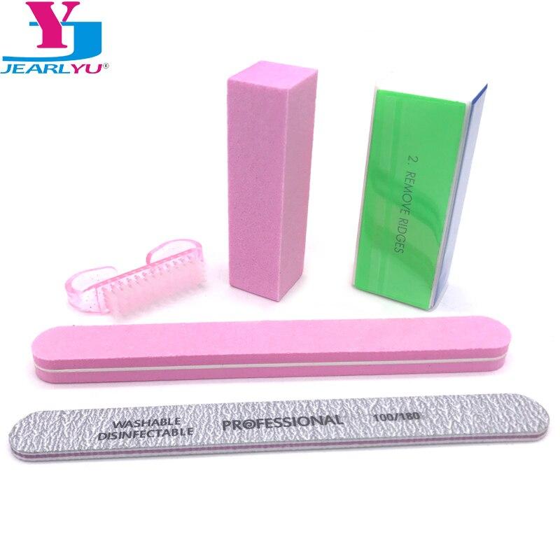 5 Pcs/lot Nail Polish Brushes Sponge Buffer Block Manicure Buffing Sanding Nail Files Limas Para Unhas Nail Art DIY Tool Kits