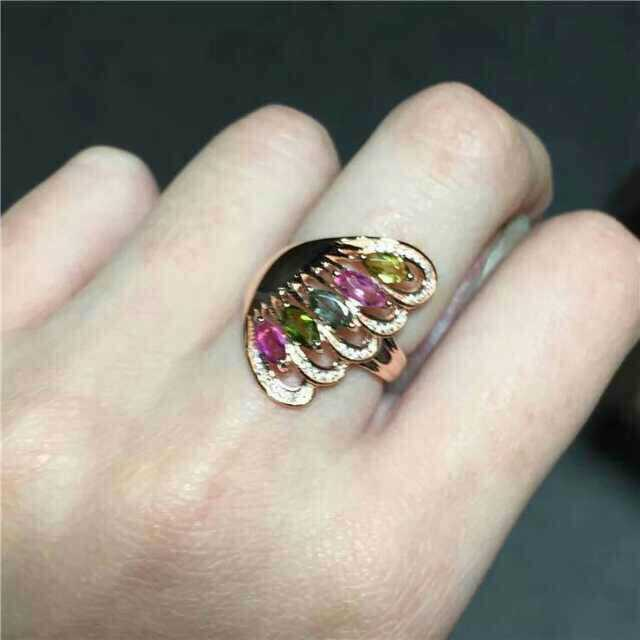 Natural multicolor tourmaline Ring Natural gemstone ring S925 sterling silver trendy Elegant feather women girl gift JewelryNatural multicolor tourmaline Ring Natural gemstone ring S925 sterling silver trendy Elegant feather women girl gift Jewelry
