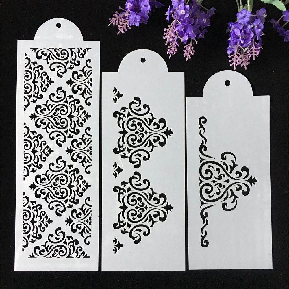 New 3Pcs/Set 31cm Flower Texture DIY Layering Stencils Wall Painting Scrapbook Coloring Embossing Album Decorative Template