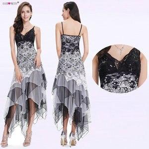 Image 5 - Seksowna sukienka koktajlowa damska długa Spaghetti dekolt w serek czarna biała koronkowa imperium kiedykolwiek ładna EP6212B musujące sukienki koktajlowe w rozmiarze Plus