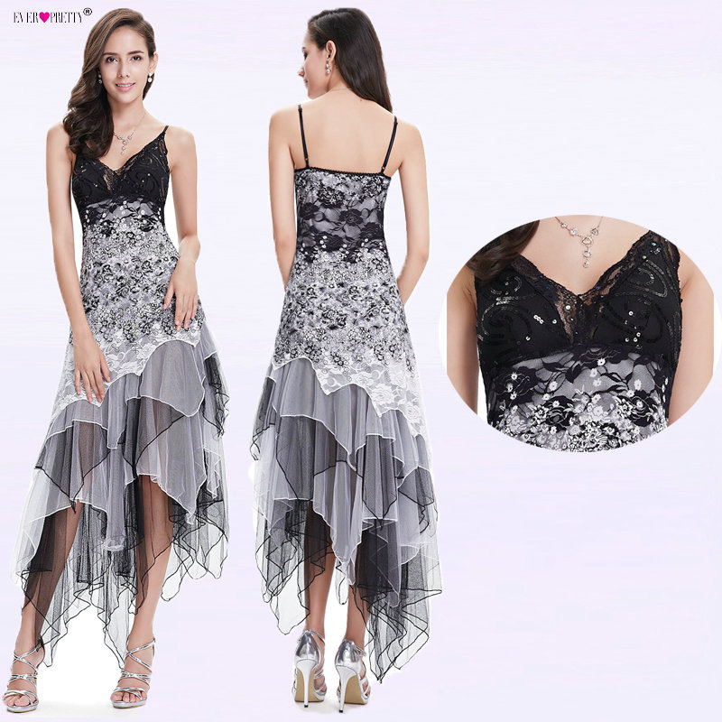 Sexy Cocktail Dress Women Long Spaghetti V-Neck Black White Lace Empire Ever Pretty EP6212B Sparkling Plus Size Cocktail Dresses