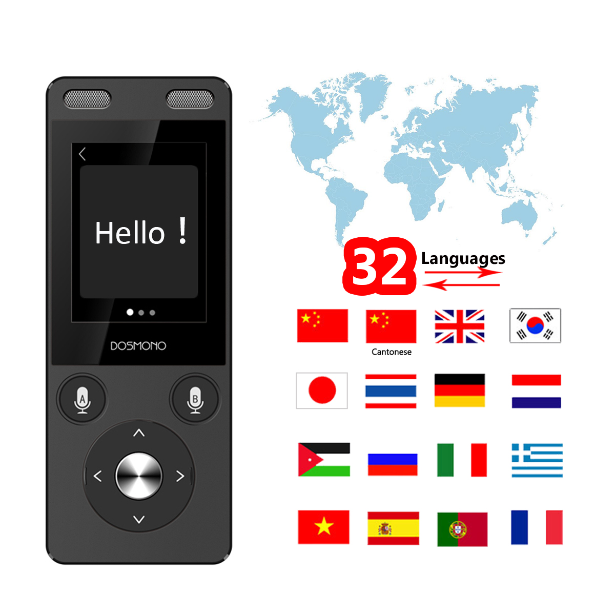 DOSMONO S201 72 langue écran tactile Android 6.0 voyage résistant traducteur stylo multi-langue voyage mondial