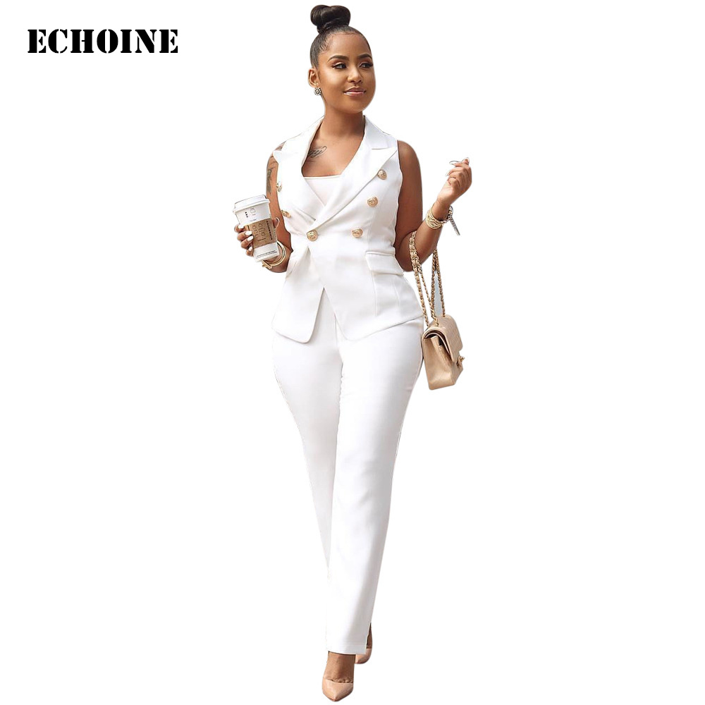 Echoine White OL Office Ladies Blazer Suit 2 Piece Set Elegant Work Pants Suits Combinaison Femme  Jacket & Trousers Suit
