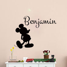 Personalized Kids Room Decoration Decals Customized name Mickey Mouse wall Sticke Removable Vinyl Baby CA-9