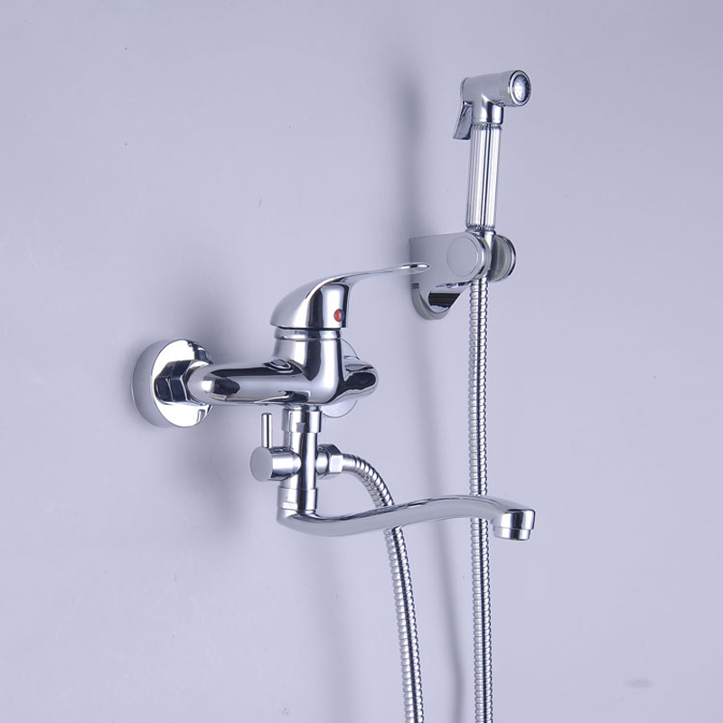 Bright Chrome Wall Mount Kitchen Sink Faucet with Handshower Single ...