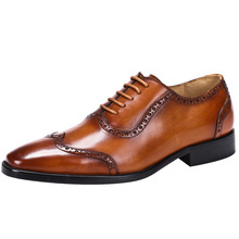 QYFCIOUFU 2019 Luxury Designer Classic Mens Brogue Shoes Pointed Toe Mens Dress Shoes Genuine Leather Comfortable Oxford Shoes