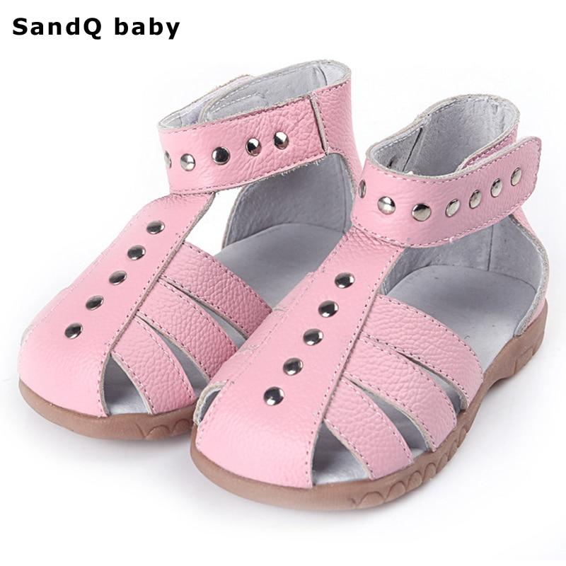 2019 년 신제품 여름 정품 가죽 키즈 샌들 높은 탑 슬립 방지 걸스 플랫 프린세스 신발