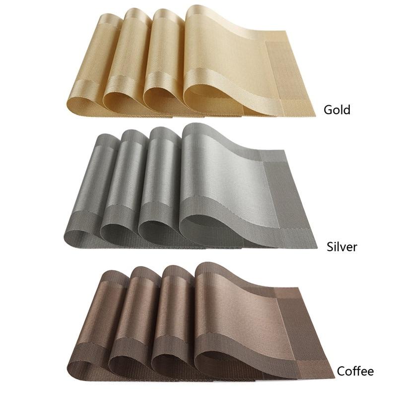 4Pcs/lot 45*30cm Placemat pvc dining table mat disc bowl coasters waterproof table cloth pads slip-resistant pad T35