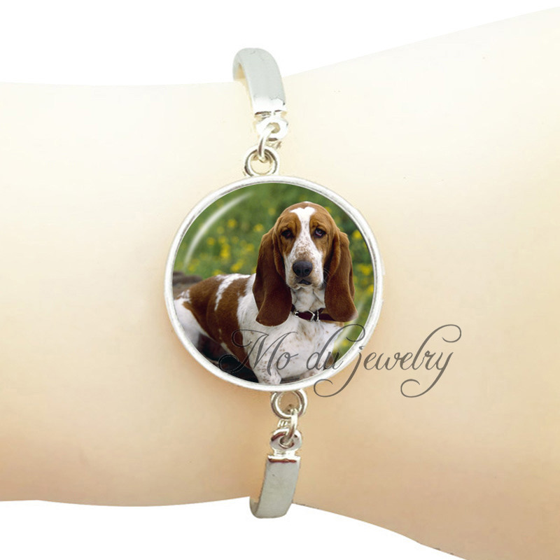 Chain & Link Bracelets British Foxhound Bracelet Dog Photo Bangle Animal Picture Bangle Jewelry Plated Silver Bangle Gift For Dog Lover Fashion Jewerly High Resilience