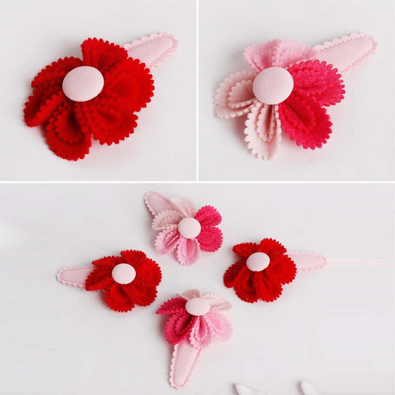 Colorful Butterfly Flower Hair Clips Red Hairband Happy New Year Hairpin Hand Made Rim Hair Accessories Hair Bows