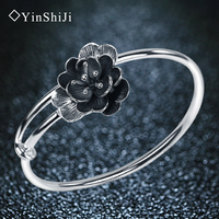 YinShiJi Retro 990 Sterling Silver Bangles For Women Lotus Flower Vintage Silver Jewelry Female Handmade Opening