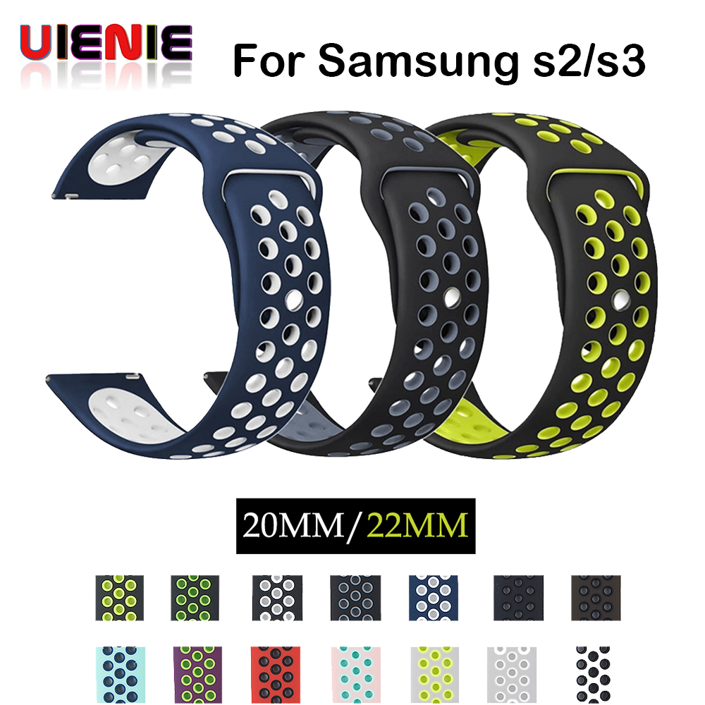 UIENIE 20mm Silicone Replacement Breathable Watch Band For Garmin Vivoactive 3, Samsung Gear S2 S3 22mm Sport strap watchbands
