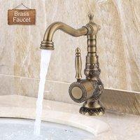 Châu âu Cổ Tinh Tế Khắc Đồng Brass Basin Vòi Đơn Lỗ Xoay Mixer Tấm Gốm Spool Tắm Tap Ngắn/Cao