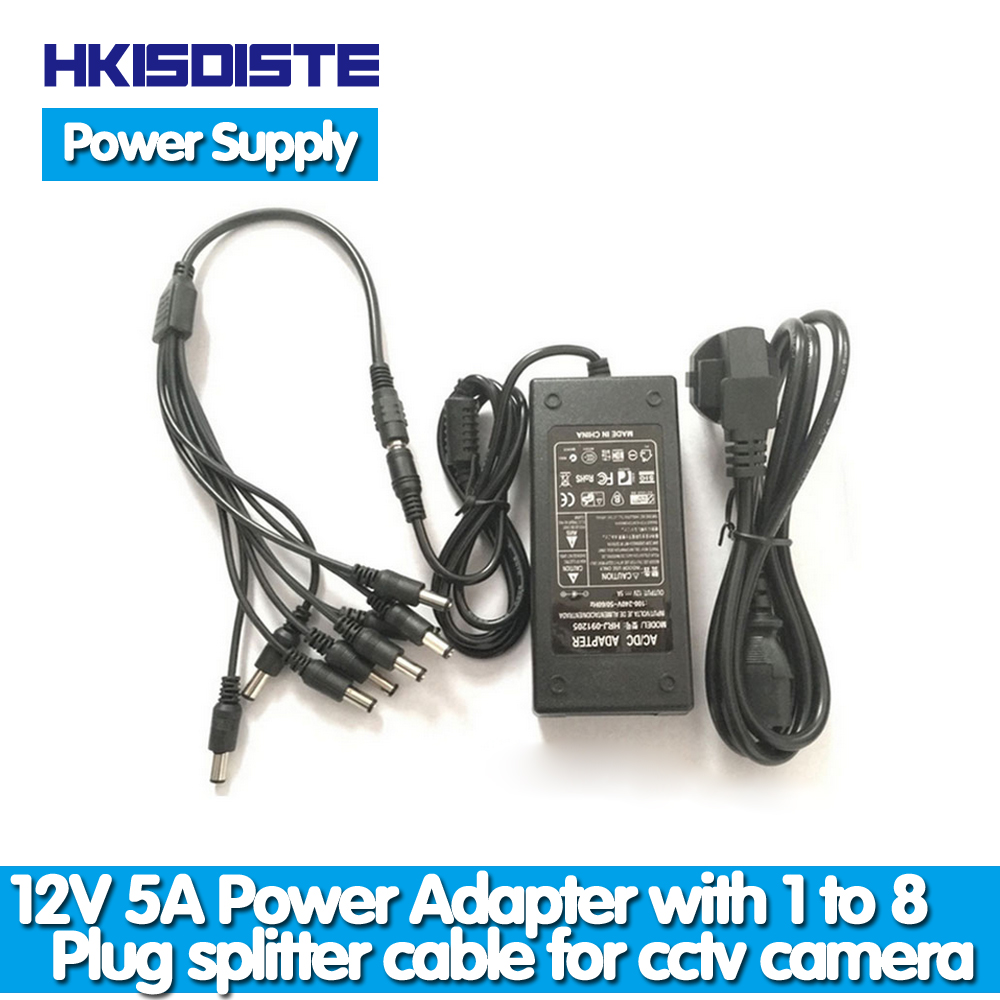 60W, 24W 8 Male Y cables LTS DC Power Supply /& Power Splitter 8-Way 4-Way 2-Way for CCTV Cameras Power Supply 5A /& 2A for CCTV Cameras 12V 4 DC 2.1mm for Surveillance System Camera Female to 2