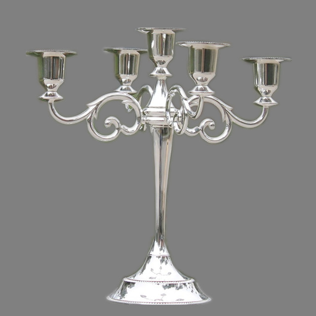 Silver/Gold/Bronze/Black 3-Arms Metal Pillar Candle Holders Candlestick Wedding Decoration Stand Mariage Home Decor Candelabra 6