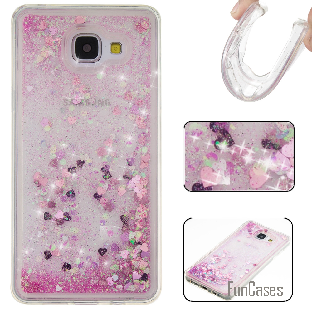 Coque Bling Love Heart Stars Soft TPU Phone Case Cover For Samsung Galaxy A510 Funda Quicksand Phone Case For Samsung A5 2016 (&