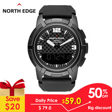 North Edge Mens Smart Digital Watch Military Army Full Stainess Steel Dual Display Waterproof 50M Altimeter Barometer Compass