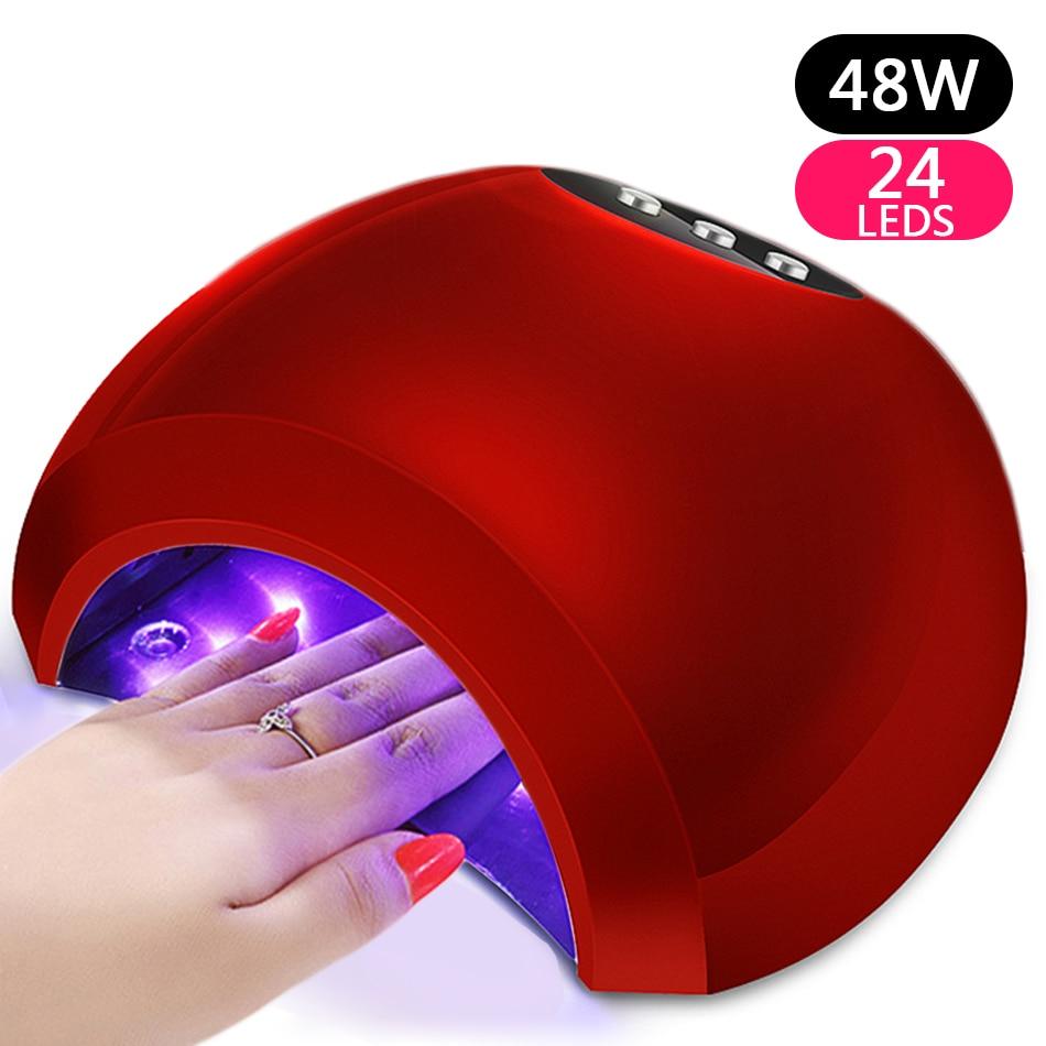 ROHWXY 48 w Lampada UV Del Gel Del Chiodo Del LED Ad Alta Potenza Della Lampada Per Le Unghie Tutti I Gel Nail Polish Dryer Sensore Sole ha condotto la Luce Unghie artistiche di Strumenti per Manicure