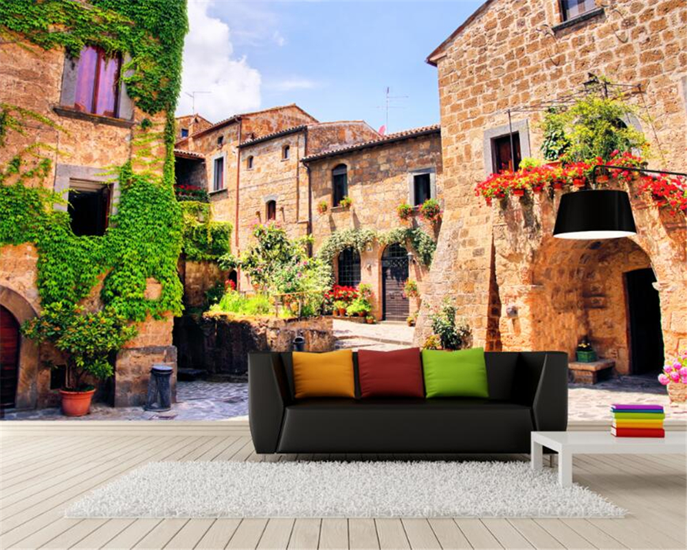 beibehang Custom high-level decorative painting beautiful wallpaper classic town street landscape background wall 3d