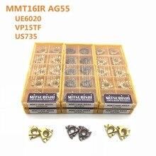 10 pcs Carbide insert MMT16IR AG55 VP15TF/UE6020/US735 AG55 MMT16IR ferramenta CNC ferramenta de torneamento externo ferramenta torno cortador de trituração
