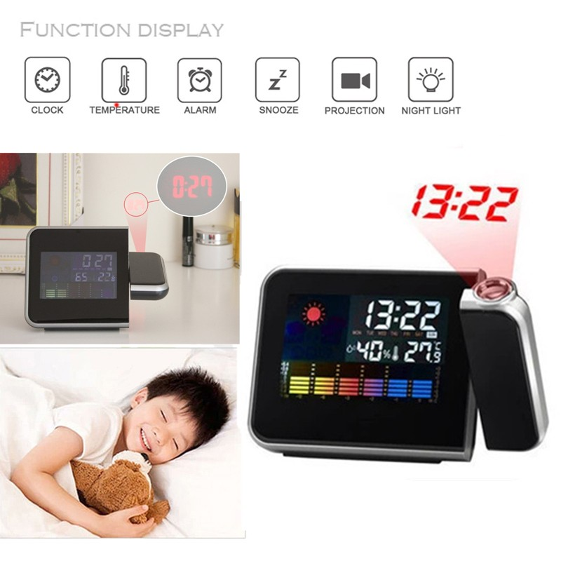 Newest !! High Quality 180 Degree Rotatable Digital LED Alarm Time Dual Laser Wall Projector Projection Temperature Humidity