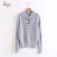 2017 Autumn And Winter New Korean Version Of The Simple Lace Long Sleeve Sleeve Sweater Women