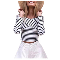 New Fashion European Style Spring Sexy Slash Neck Bust Cross Shirts Lady Autumn Slim Off Shoulder Striped Shirts
