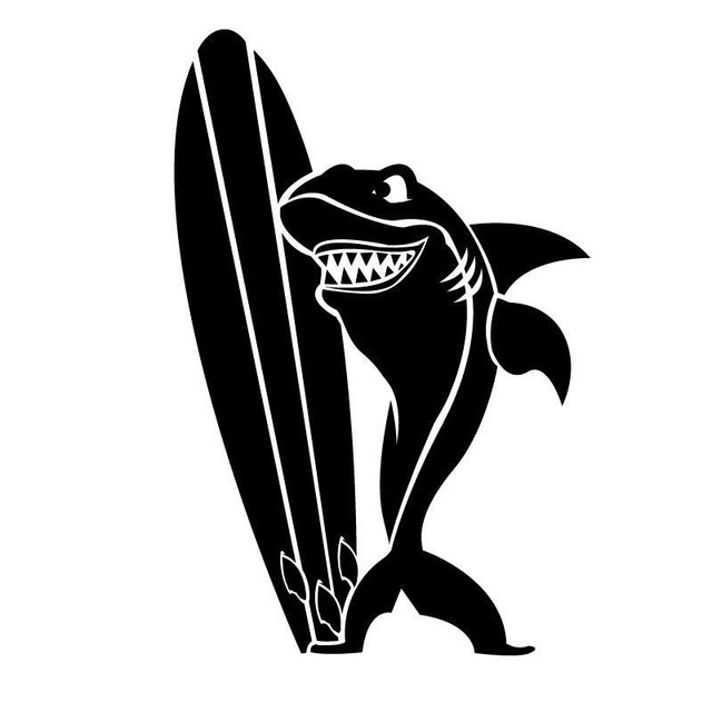 11*16.5 cm tiburón con tablas de surf vinilo Adhesivos Classic ...