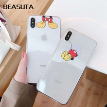 Mickey transparent soft tpu case for iphone XS MAX 6 6S 7 8 Plus cute cartoon cases for iPhone X XR XS back conque capa цена и фото