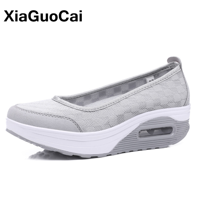 XiaGuoCai New Spring Summer Women Casual Shoes Platform Breathable Slip-On Women's Loafers Plus Size Leisure Female Flats odetina 2017 new women pointed metal toe loafers women ballerina flats black ladies slip on flats plus size spring casual shoes