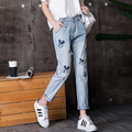 2017 New Fashion Women Embroidery Jeans Girls Mickey Nine Pants Cuffs Mid Waist Loose Harem Pants Jeans Female Trousers Younger