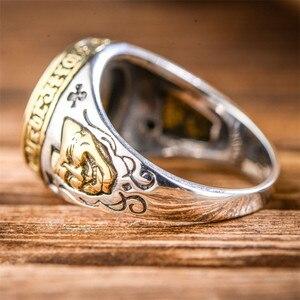 Image 4 - V.YA 925 Sterling Silber Invertiert Pentagramm Ring für Männer mit Naturstein Pentagramm Ringe Schmuck Mode Männer Ring