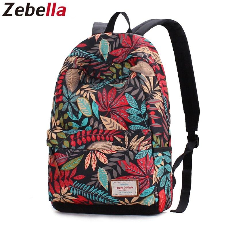 Zebella Backpack Female Fashion Oxford Printed Schoolbag For Girls Teenagers Leaves Mochila Feminina Travel Backpacks Bagpack цена 2017